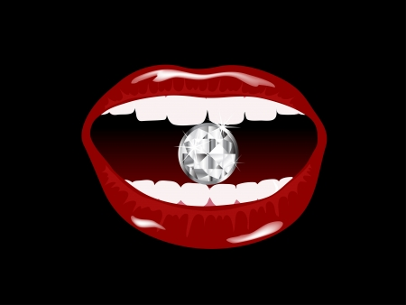 Red smiling lips with the diamond Vector