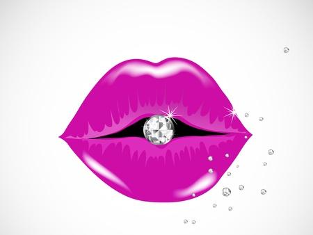 lips: Rose lips with the diamonds Illustration