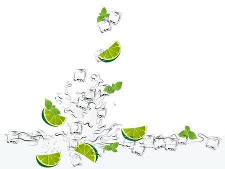 Mojito with limes, mint and ice cubes Vector