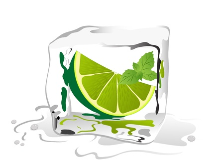 ice cube: Fresh lime and mint in ice cube