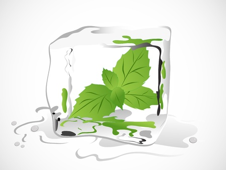 ice cubes: Frozen fresh mint in ice cube Illustration