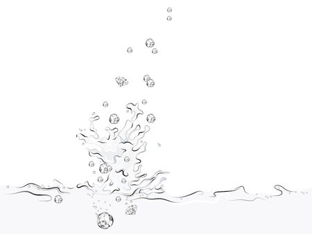 Water splash with small luxury diamonds Stock Vector - 13911545