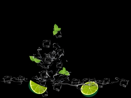 mojito: Mojito with limes, mint and ice cubes