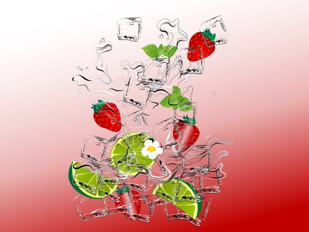 ice cubes: Strawbwrry mojito with fresh limes and mint Illustration