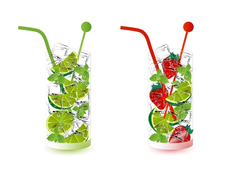 Mojito drink with limes, mint and strawberries Ilustracja