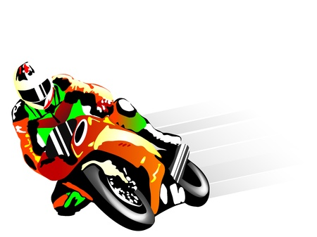 motor race: Vector illustratie van motorcoureur
