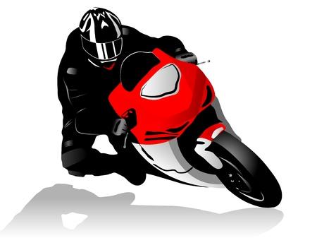 motociclista: Illustrazione vettoriale di pilota di moto