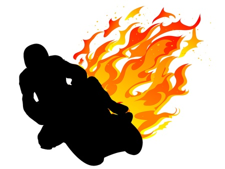 Silhouette of motorcycle racer with fire Vector