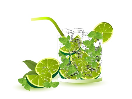 Mojito drink with limes, mint and ice cubes