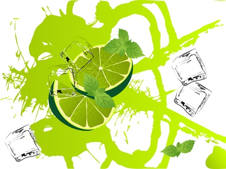 frozen fruit: Grunge abstract background with limes and mint