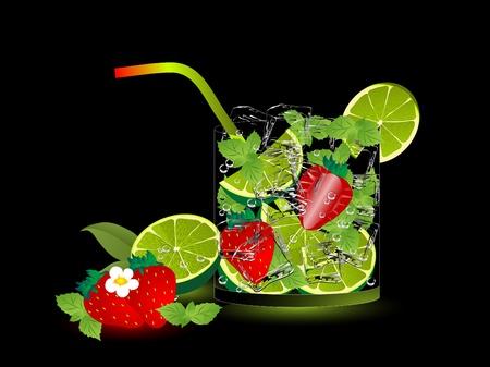 mojito: Strawberry mojito drink on the black background Illustration