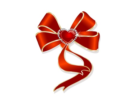Red bow with the diamonds and heart Stock Vector - 14209631