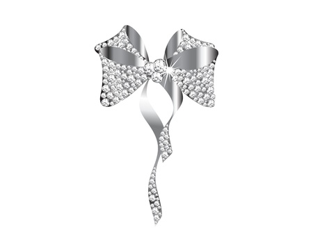 silver jewellery: Silver bow with the diamonds