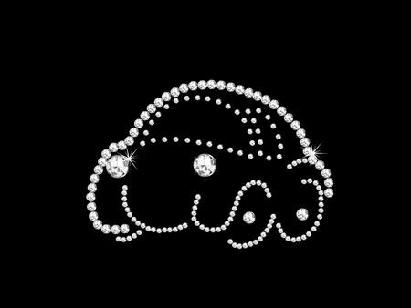 brilliancy: Luxury diamond car on black background
