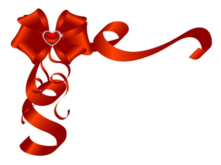 Red bow with the diamonds and heart Vector