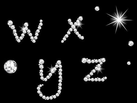 Luxe diamant letters op zwarte achtergrond Stock Illustratie