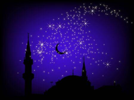 kopule: Černé pozadí s mešitou a hvězdy