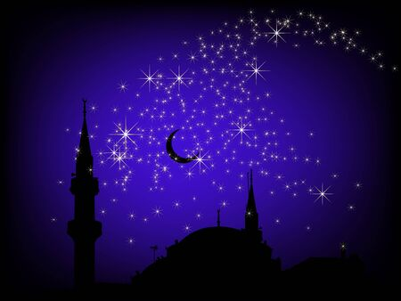 believer: Black background with the mosque and stars