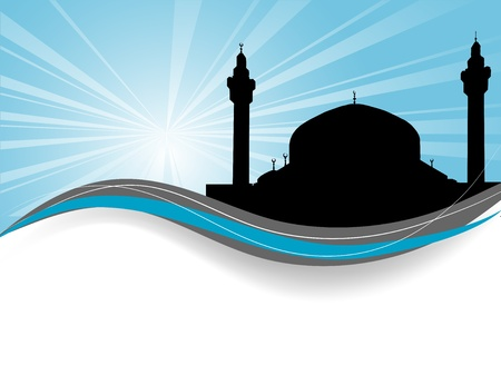 prayer tower: Abstract blue background with mosque and sunburst Illustration
