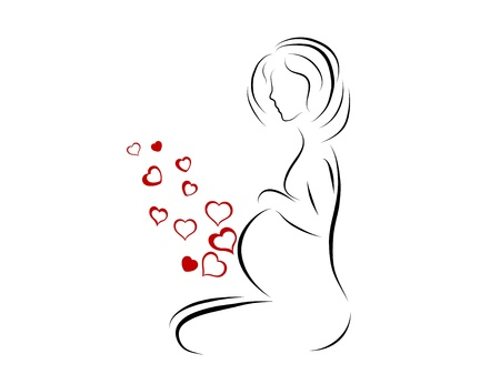 Silhouette of young pregnant woman Vector