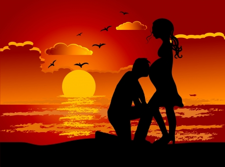 Romantic couple in the summer sunset Vector