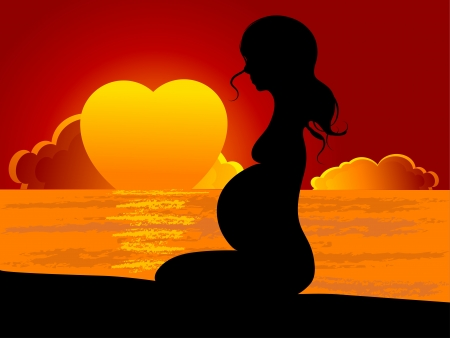 Pregnant woman in the sunset Vector