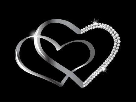 black and silver: Two silver hearts with diamonds Illustration