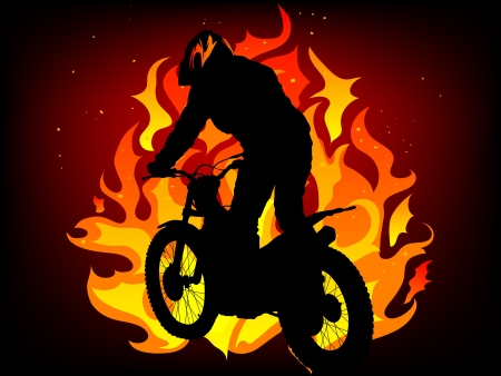 extremesport: Silhouette of motorcycle in fire