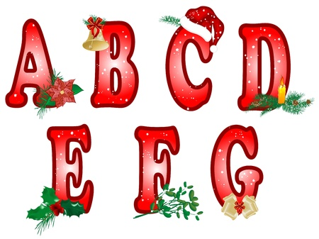 Red Christmas alphabet with symbols Vector