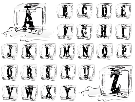 Letters in ice cubes with the snowflakes Vector