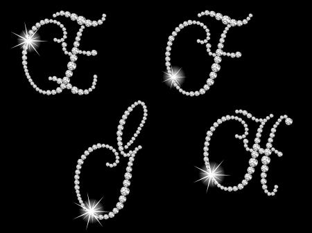 Luxury diamond letters against black background Stock Vector - 15354794