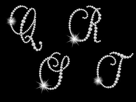 flashy: Luxury diamond letters against black background Illustration