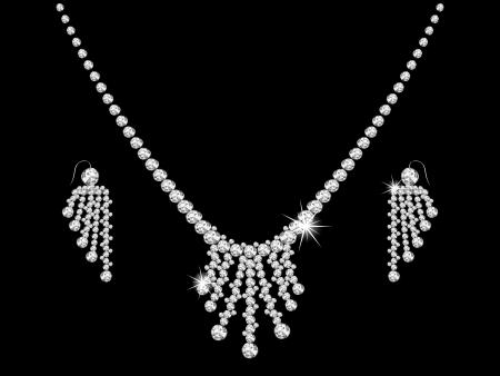 黒の背景に豪華なダイヤモンドのネックレス