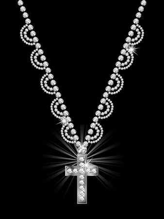 Luxury diamond cross on black background Vector