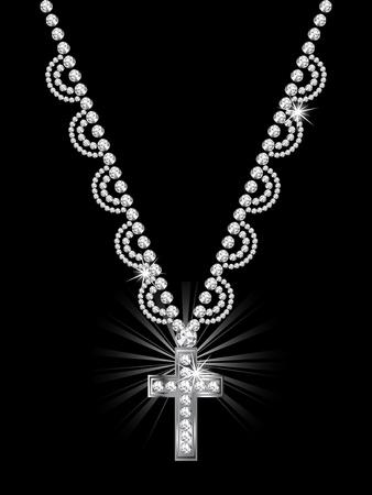 Luxury diamond cross on black background Stock Vector - 15354792