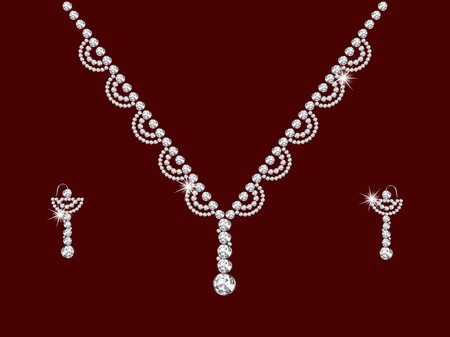 ear drop: Luxury diamond necklace on red background
