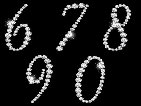 黒の背景に高級ダイヤモンド番号  イラスト・ベクター素材