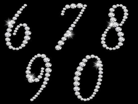 glittery: Luxury diamond numbers on black background