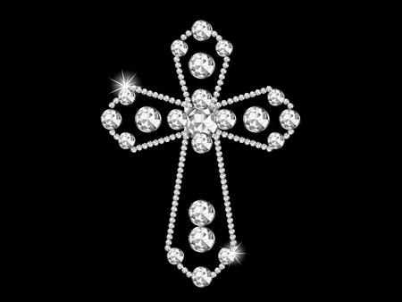 cruz religiosa: Lujo cruz de diamantes sobre fondo negro Vectores