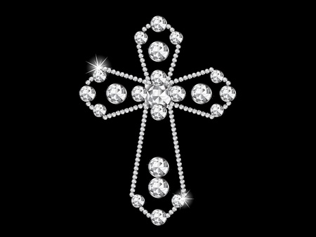 silver cross: Luxury diamond cross on black background