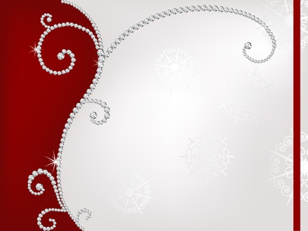 Red and grey christmas background with diamonds Vector