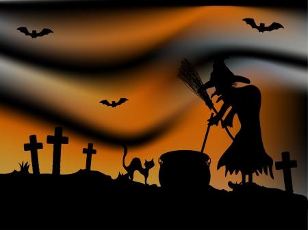 churchyard: Scary Halloween night in black and orange