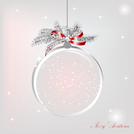 silver jewellery: Empty snowglobe with silver bow with luxury diamonds Illustration