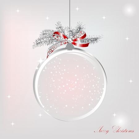 Leere Schneekugel mit silbernen Bogen mit Luxus Diamanten Standard-Bild - 15605873
