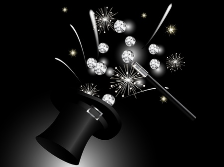 flashy: Luxury diamonds in magic cylinder Illustration