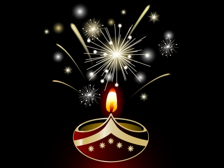 candlestand: Black Diwali background with lamp Illustration