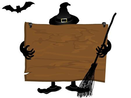 foe: Wooden signboard and the witch at the back Illustration