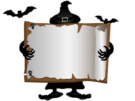 ghastly: Wooden signboard and the witch at the back Illustration