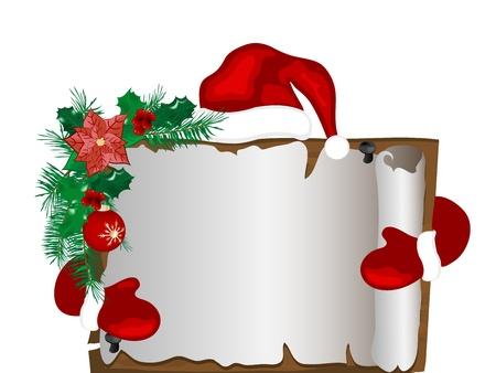 flor de pascua: Navidad pergamino con el sombrero de Santa y guantes Vectores