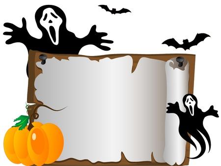 木製看板と後ろに幽霊